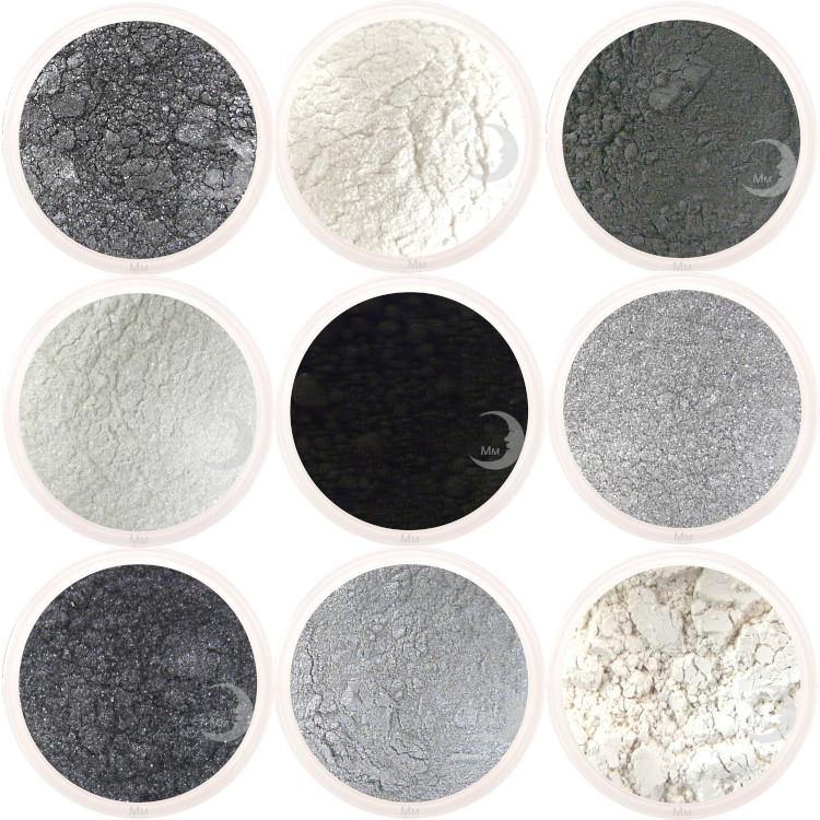 moon minerals zwart wit grijs